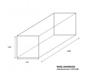 Cubre bala a medida Nivel Advanced 1,1m ancho X 2,6m largo X 1,3m alto (Apertura en 1,1 X 2,6m)